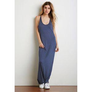 Forever21 Blue Striped Maxi Dress XS Racerback